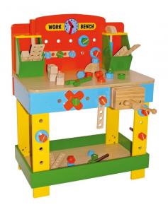 Tavolo-banco degli attrezzi da lavoro per piccoli falegnami