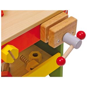 Banco-tavolo di lavoro in legno colorato con tanti attrezzi aiuto motricità