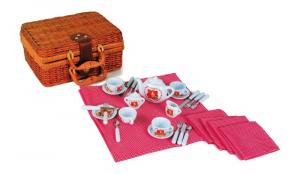 Cesta da picnic e colazione con accessori in porcellana