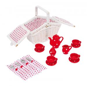 Cesta in vimini per picnic con set tazzine teiera 17 pezzi