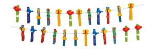 Mollette colorate in legno con applicazioni animali set da 24