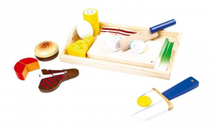Alimenti giocattolo per bambini in legno da staccare e ricomporre gioco didattico