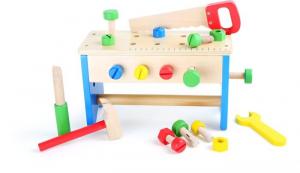 Cassetta e banco degli attrezzi giocattolo in legno 2 in 1