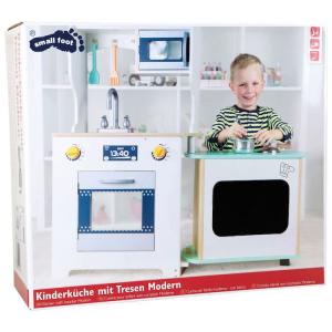 Cucina giocattolo in legno per bambini con bancone e accessori