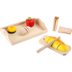 Pane con tagliere e coltello in legno accessorio cucina gioco per bambini