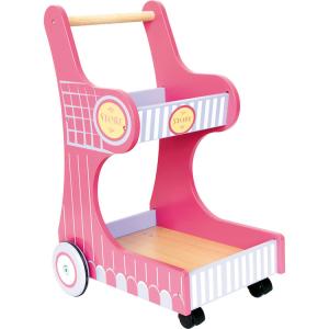 Carrello della spesa giocattolo in legno colorato per bambini