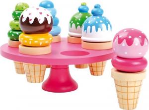 Set gelati colorati con vassoio porta gelati in legno Gioco bambini