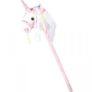 Unicorno in tessuto con asta in legno bianco