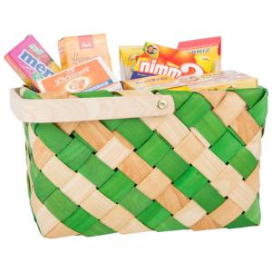 Cestino in vimini spessa con set alimentari prodotti di marca