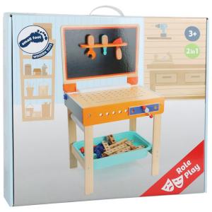 Banco di lavoro in legno giocattolo con accessori