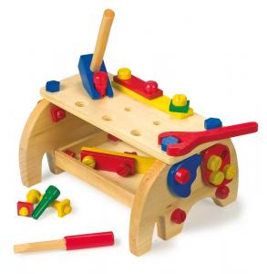 Tavolo banco da lavoro con attrezzi in legno giocattolo per bambini