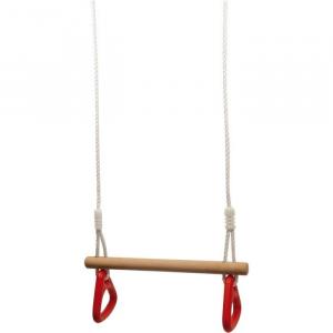 Altalena in legno con anelli da ginnastica gioco da giardino