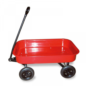 Carretto da tirare tipo Radio Flyer in lamiera con ruote in plastica gioco bambini