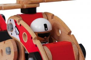 Set da costruzioni Aviatore 2 in 1 in legno: elicottero ed aeroplano