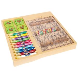 Tavola in legno da disegno con temperino e set matite colorate