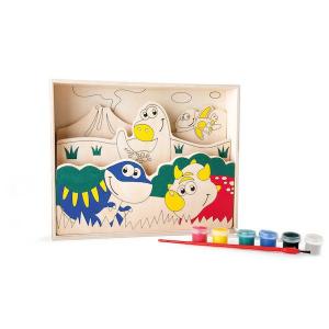Disegni 3D in legno da colorare con pittura I miei primi dinosauri Legler 10180