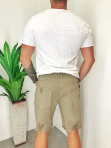 Bermuda uomo in denim jeans colorato sabbia con strappi e accessorio catena TG 42/44/46/48/50/52/54