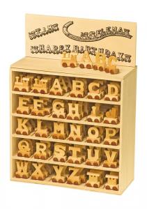 Espositore lettere alfabeto in legno per creare trenini con nomi e parole