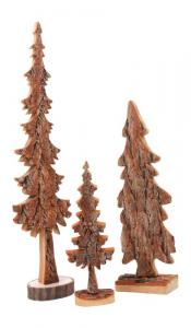 Albero decorativo in legno massiccio articolo natalizio Set 3 pezzi