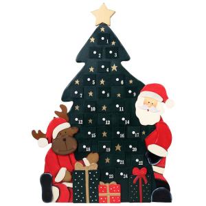Calendario dell'avvento Albero di Natale in legno con applicazioni in 3d