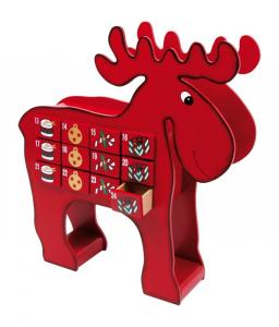 Calendario d'avvento Alce in legno articolo natalizio