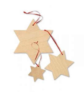Stelle decorative pensili in legno per decorazioni e lavori di bricolage Set da 15