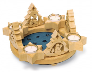 Decorazione Corona dell'avvento natalizio in legno con porta candele e lumini
