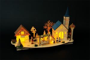 Decorazione natalizia Centro storico in legno con illuminazione Natale