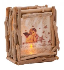 Lampada Sogni d'angelo in legno e tessuto