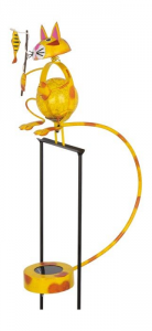 Spiedo di metallo decorazione giardino Gatto a dondolo con illuminazione