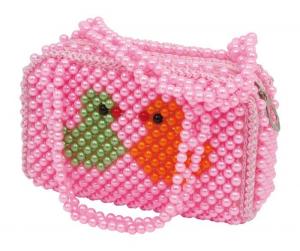Borsa con perle con motivo Uccelli borsetta per bambina/ragazza