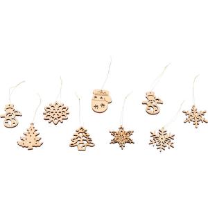 Pendaglio addobbo per Natale in legno Confezione da 48 pezzi