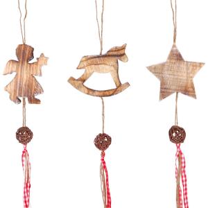 Pendaglio in legno decorazione natalizia Set da 3