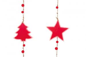Pendaglio in legno Stella e abete Decorazione natalizia Set da 2