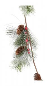 Rami di abete con polvere di neve e applicazioni Decorazione natalizia per la casa
