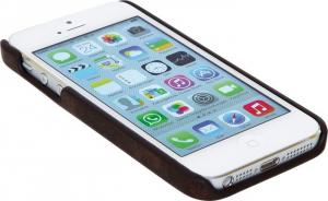 Custodia iPhone 5 in similpelle colore marrone con taschino per carta di credito