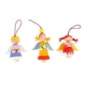 Angeli da appendere in legno con elastico portachiavi 24 pezzi Legler 10126
