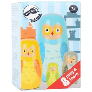 Matrioska in legno gioco per bambini Famiglia di civette