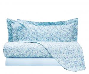 Set lenzuola matrimoniale 2 piazze MIRABELLO percalle JOLIE floreale azzurro