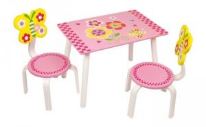 Set tavolo e 2 sedie colorate in legno per bambine arredo camera asilo casa