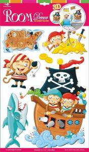 Adesivi decorativi scimmie e pirati decorazione cameretta bambini