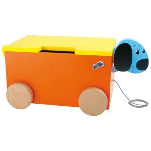 Box/scatola per giocattoli Cane da tirare con ruote in legno