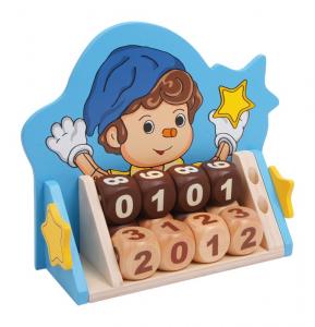 Calendario infinito in legno massiccio con 12 dadi gioco bambini