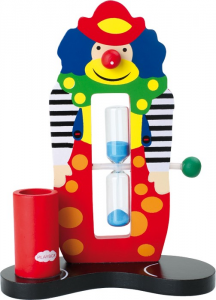 Clessidra timer per pulizia denti in legno forma Clown per bambini gioco