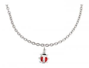 Collana in argento con pendaglio forma coccinella gioiello per bambini