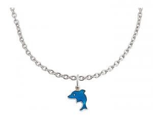 Collana per bambini in argento con pendaglio delfino blu