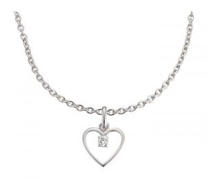 Set gioielli Collana e orecchini per bambini in argento Cuore con pietra