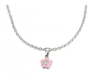 Set gioielli Collana anello e orecchini per bambini in argento Fiore rosa