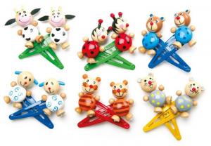 Fermagli per capelli per bambine Animali in legno e plastica
