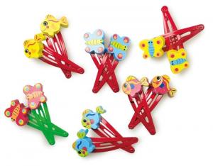 Mollette/fermagli colorate per i capelli per bambina in legno e plastica